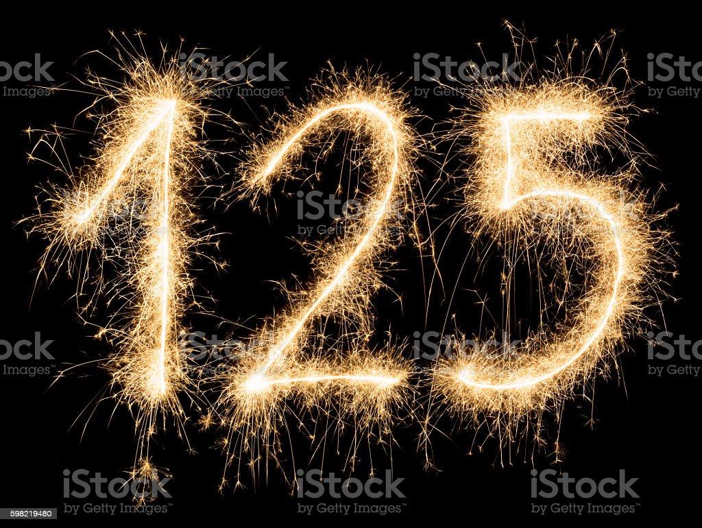 Vermelho brilhante festa de aniversário, número de 125 foto royalty-free