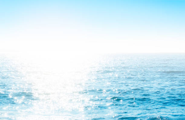 Sparkling rippled water surface with sunlight stock photo
