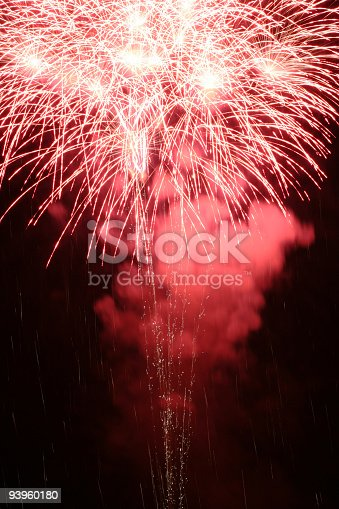 istock Sparkling Smoky Fireworks Exploding at Night 93960180