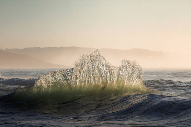 Sparkling wave dancing in the sea during golden light stock photo