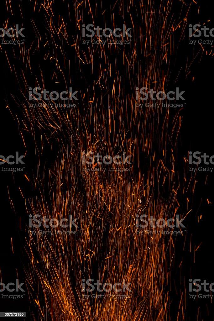 Sparks bonfire background stock photo