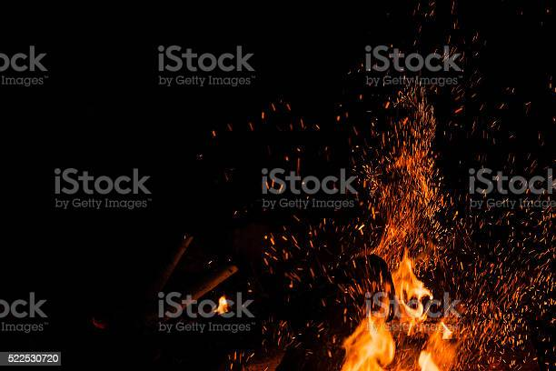Photo of Sparks bounce off from a bonfire at night