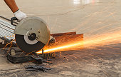 Sparks fire while cutting steel