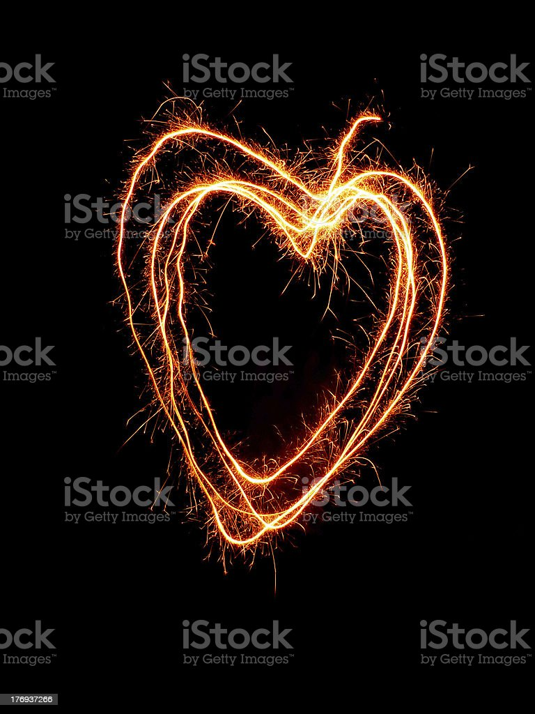 sparks flying heart royalty-free stock photo