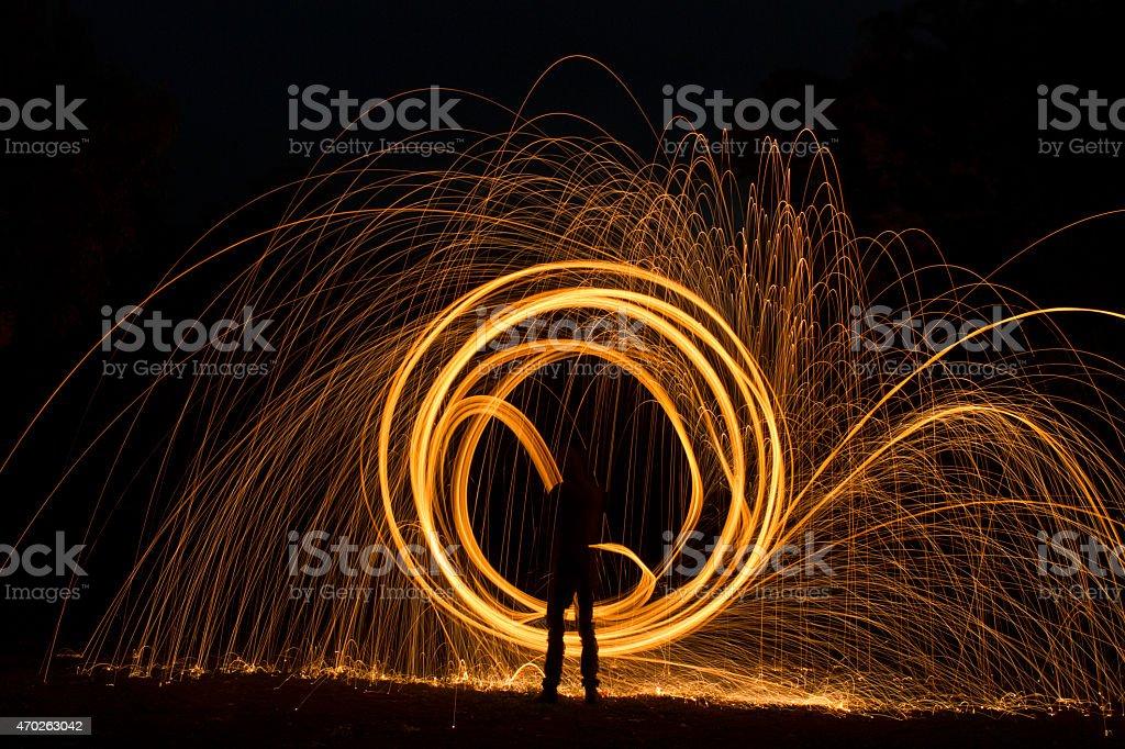 Long Exposure Shot of Sparks Flying off Burning Steel Wool