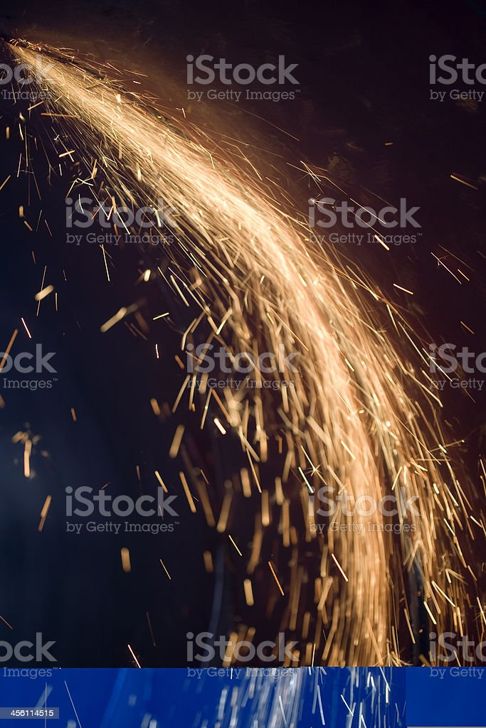 Sparks Fountain: from BiG Metal Pipe royalty-free stock photo