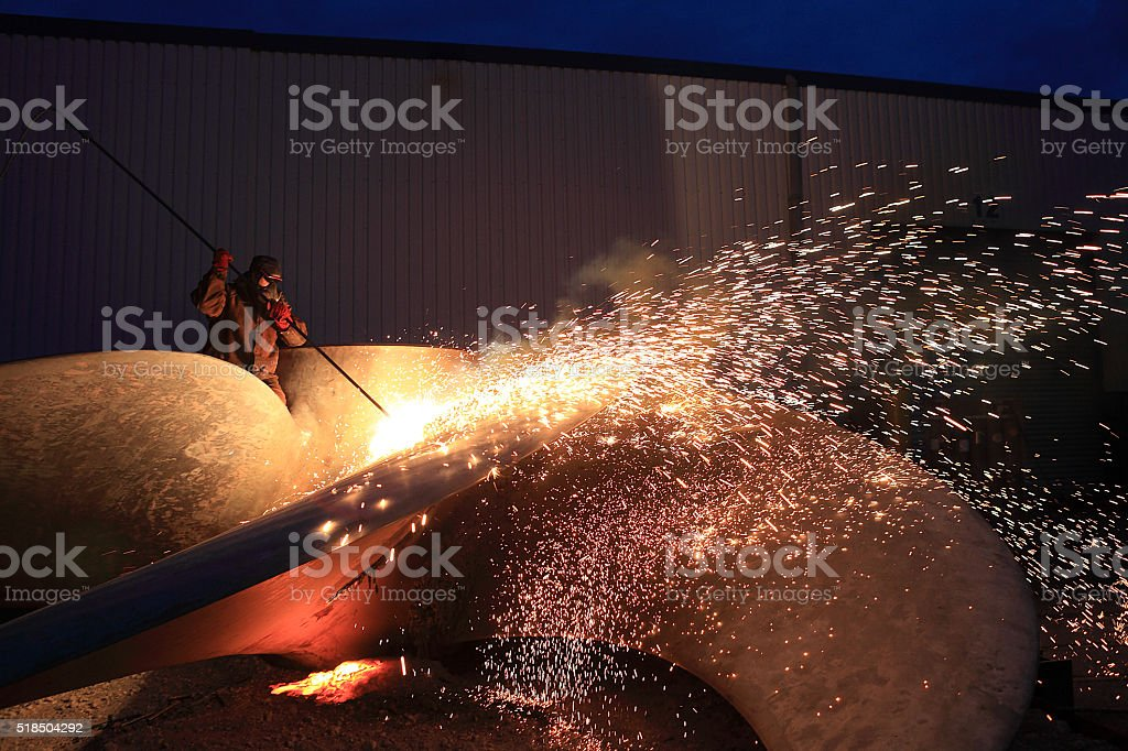 sparks from welding  a propeller stock photo