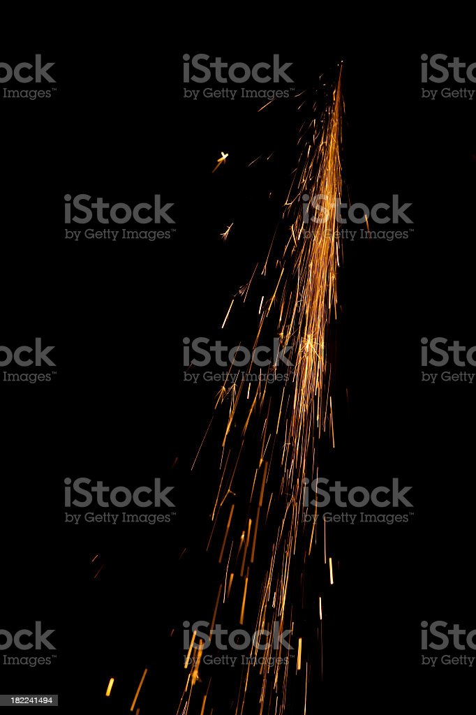 Sparks isolated on black background royalty-free stock photo