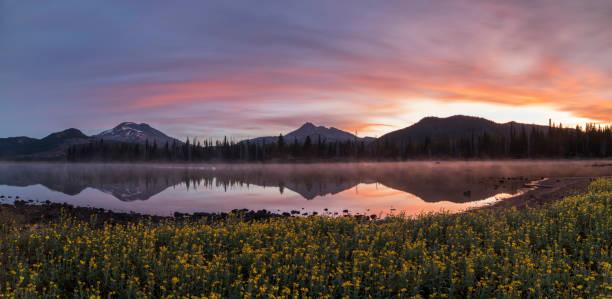 Sparks Lake at Sunrise stock photo