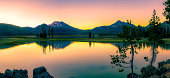 Sparks Lake is one of the Cascade Lakes in Central Oregon, a popular tourist destination and a place for outdoor enthusiasts for kayaking, paddle boarding and hiking, as well as camping.