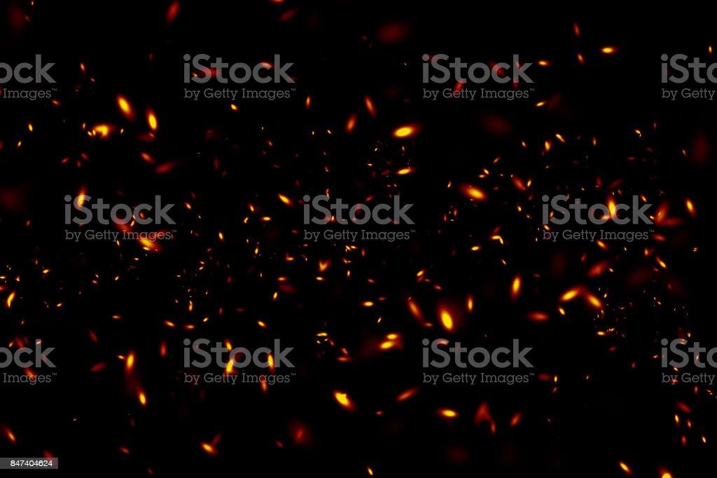 Sparks on a black background. stock photo