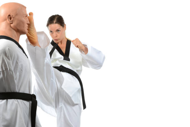 sparring kick - martial arts gerville stock pictures, royalty-free photos & images
