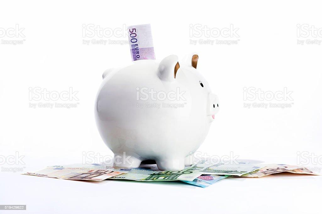 Sparschwein und Euro stock photo