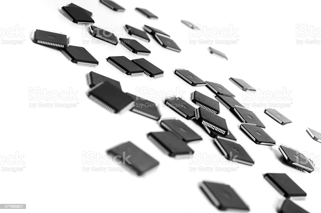 Sparse CPU micro controllers on white background royalty-free stock photo