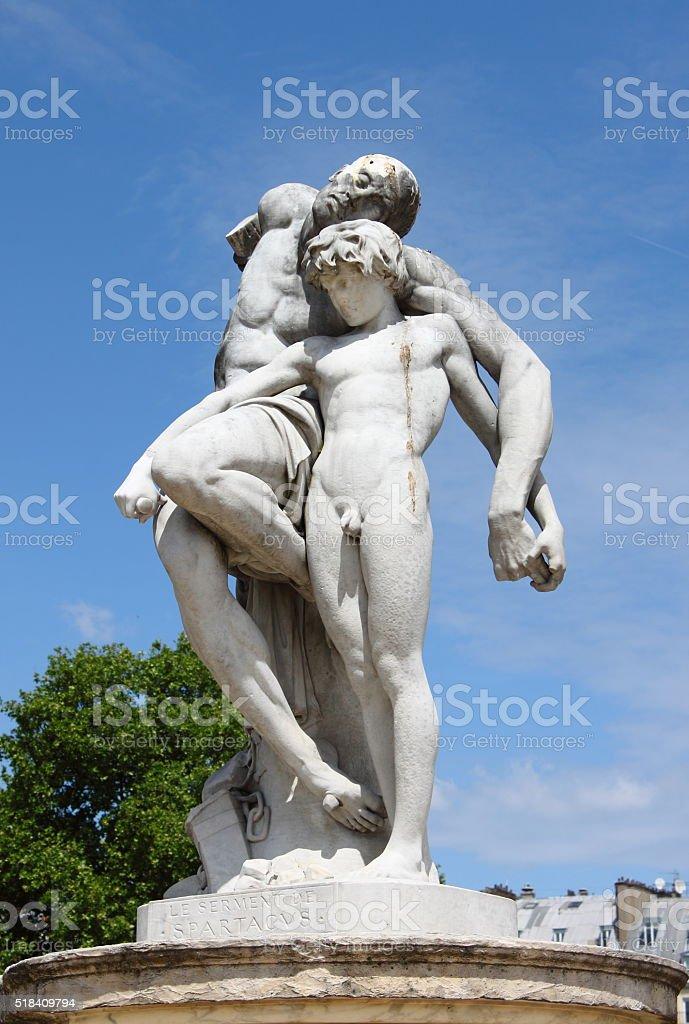 Spartacus Statue in Tuileries Gardens of Paris stock photo