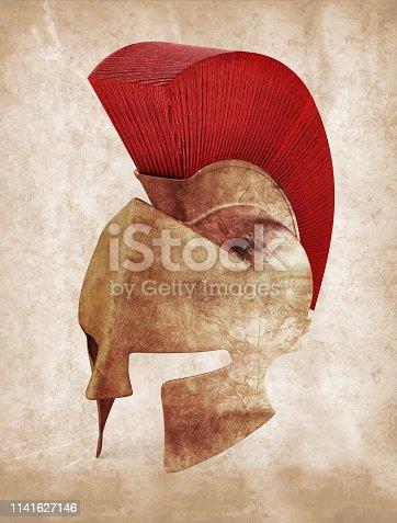 Spartan helmet on vintage dirty background.