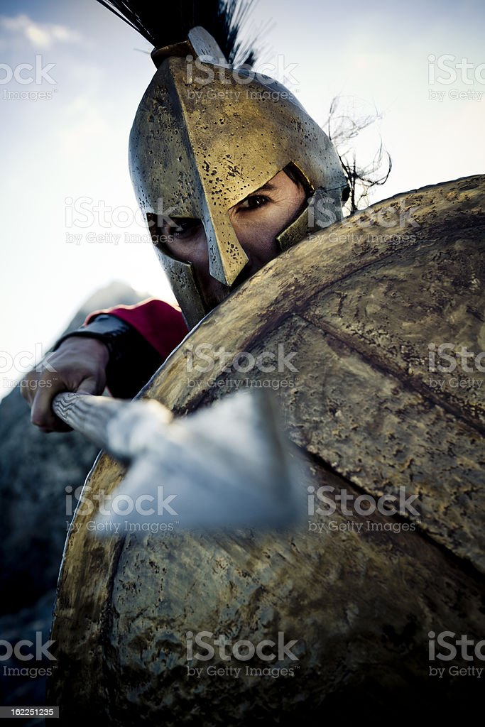 spartan in defense position stock photo