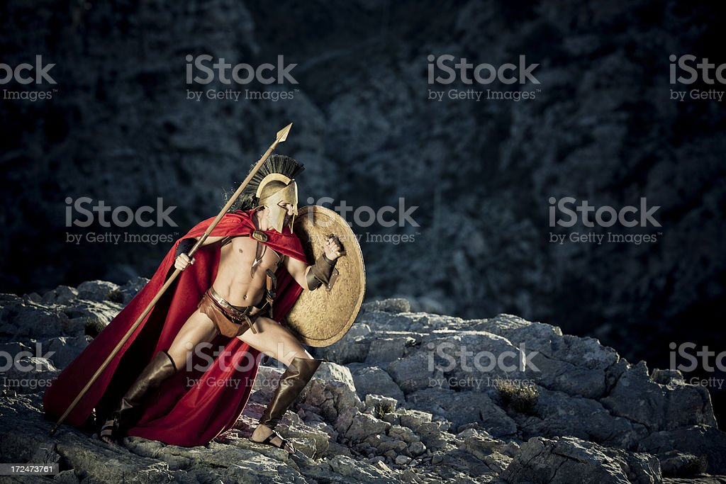 Spartan in defensive position stock photo
