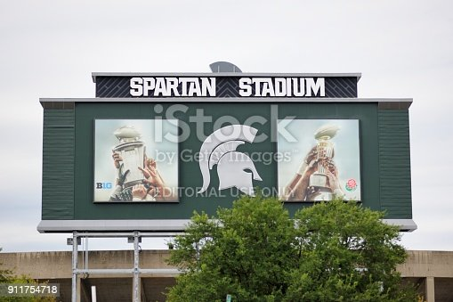 East Lansing, Michigan, USA - August 8, 2015: Sign on back of scoreboard at Spartan Stadium on the campus of Michigan State University in Lansing, Michigan. Image taken from the west side of the stadium on MSU campus.