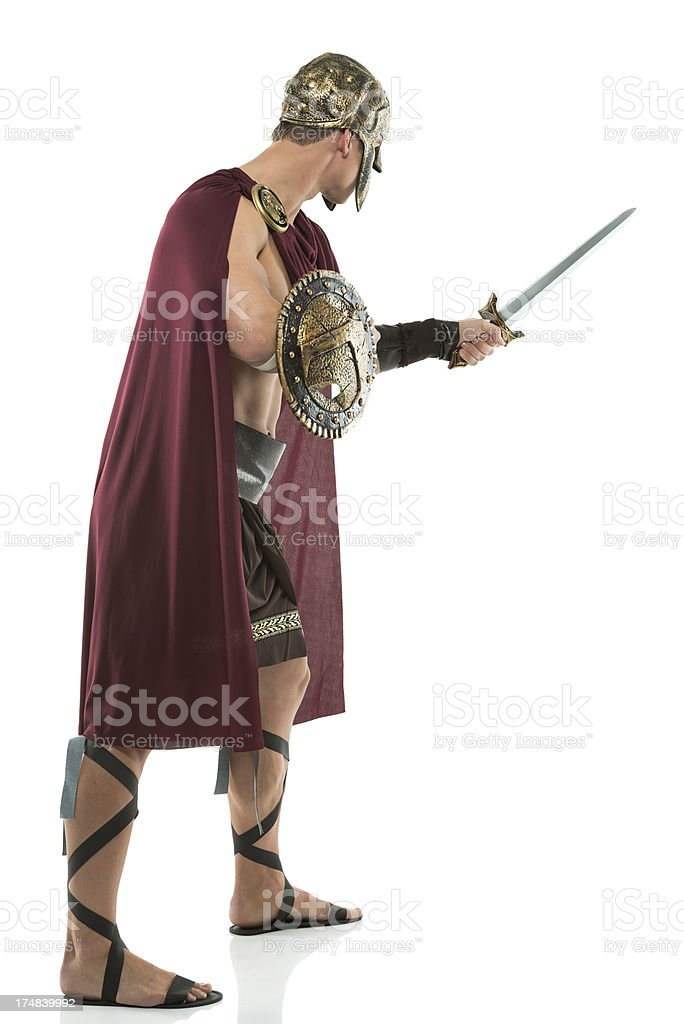 Spartan warriior ready for war royalty-free stock photo