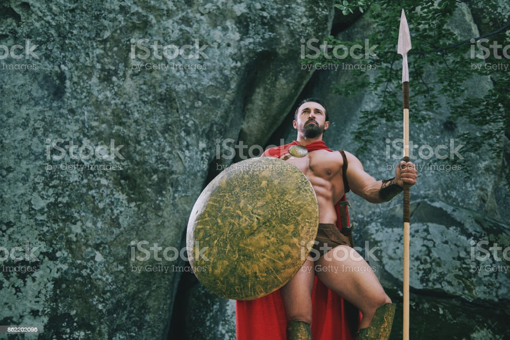 Spartan warrior in the woods stock photo