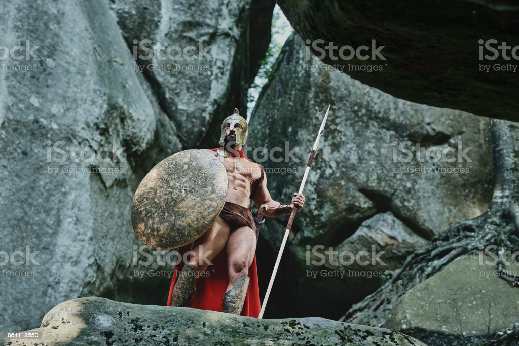 Spartan warrior in the woods royalty-free stock photo