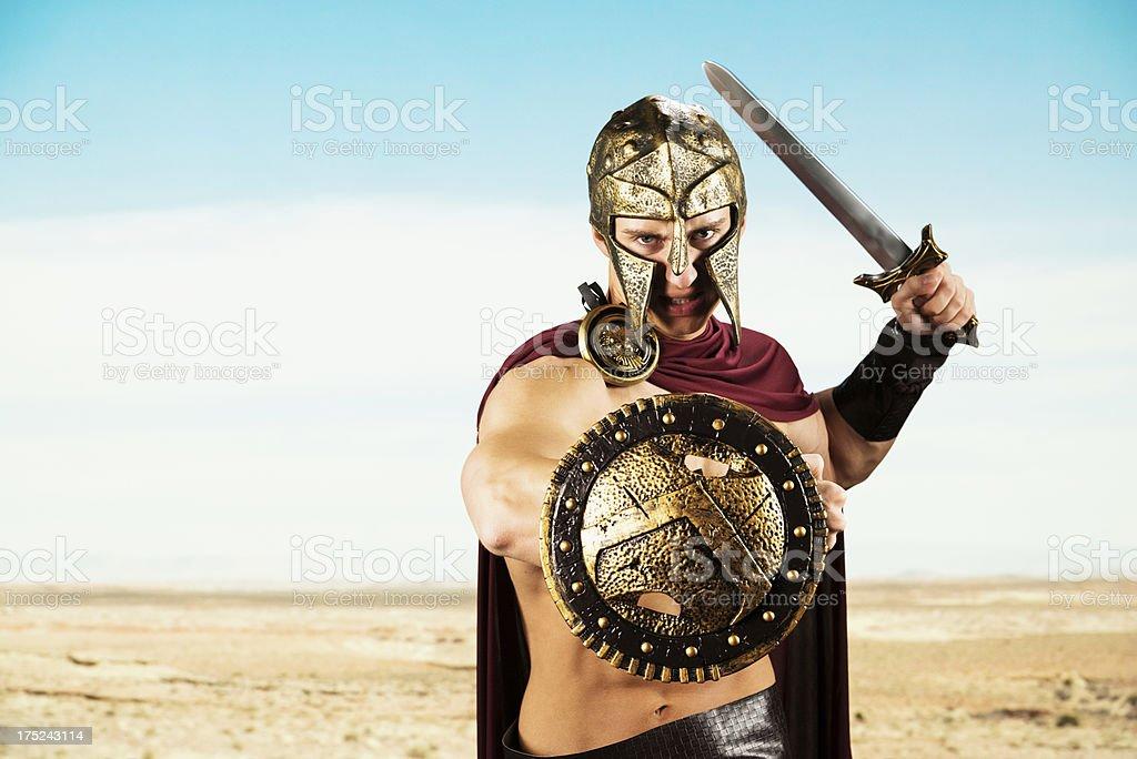 Spartan warrior ready for war stock photo