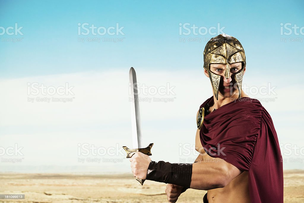 Spartan warrior ready for war royalty-free stock photo