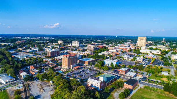 Spartanburg, South Carolina, USA Drone Aerial of Spartanburg, South Carolina, USA Skyline spartanburg stock pictures, royalty-free photos & images