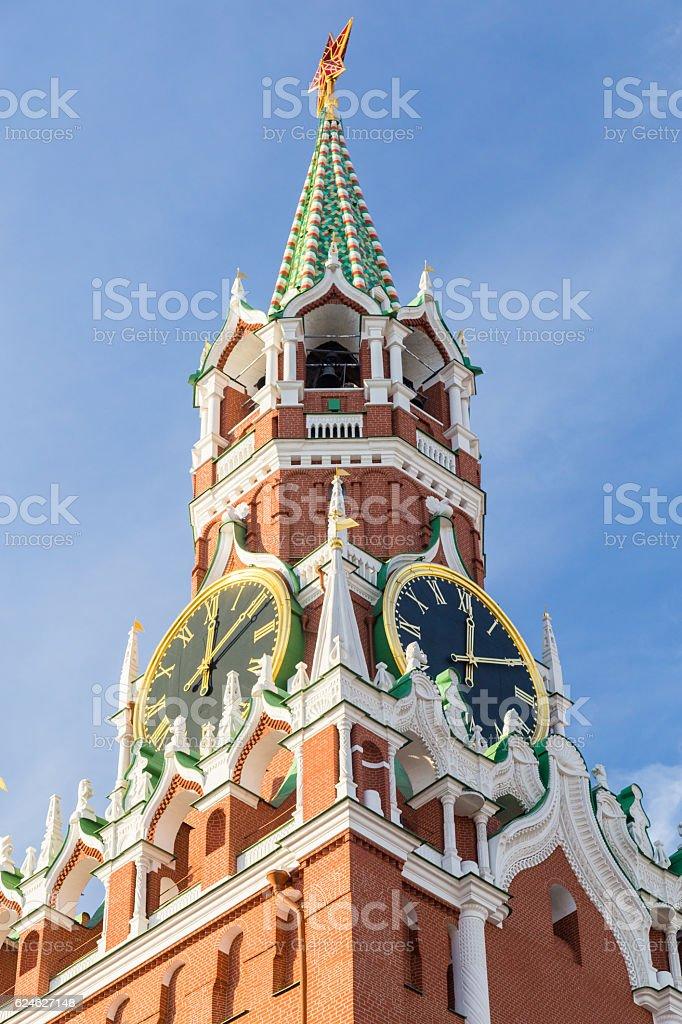Spasskaya Tower of Moscow Kremlin stock photo