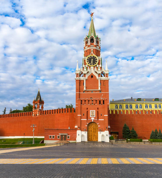 Cтоковое фото Spasskaya Tower with clock in Moscow Kremlin, Russia