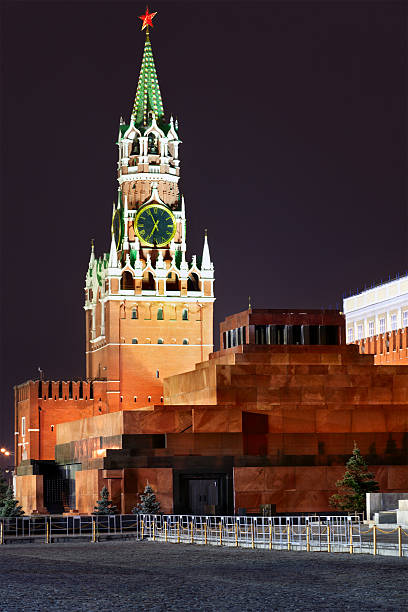 Spassky tower of Moscow Kremlin at night stock photo