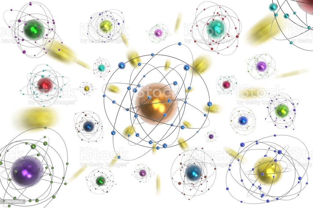 Spazio atomi pianeti sfondo bianco stock photo