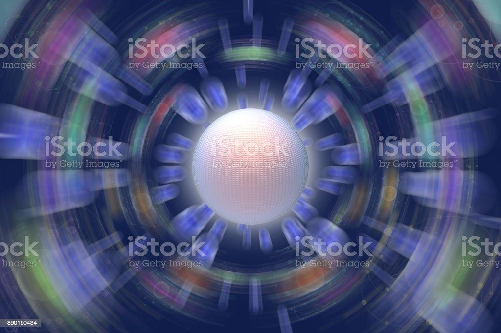 Spazio atomi pianeti sfondo blu stock photo