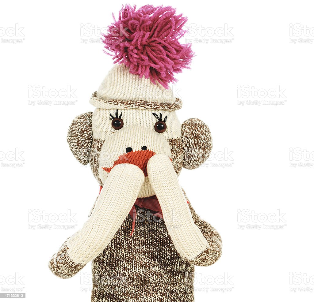 Speak No Evil Sock Monkey royalty-free stock photo