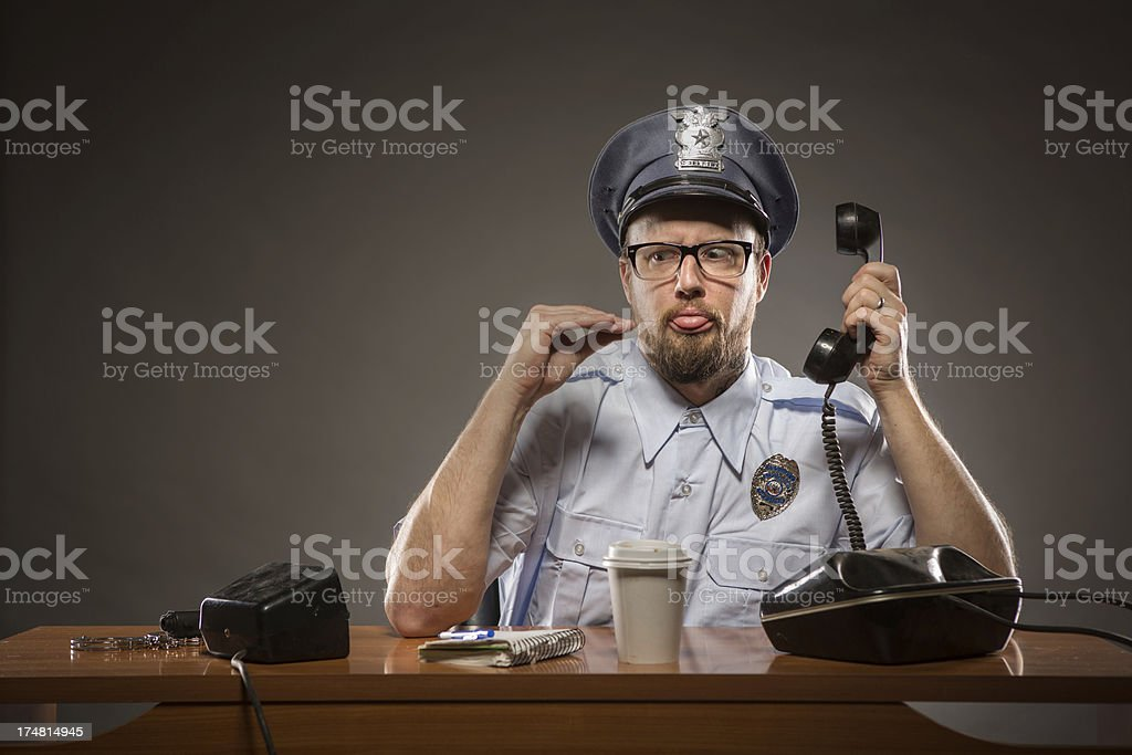 Speak to the Hand:  Frustrated Policeman stock photo