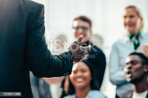 618851838 istock photo speaker asks questions to the participants of the business semi 1223521090