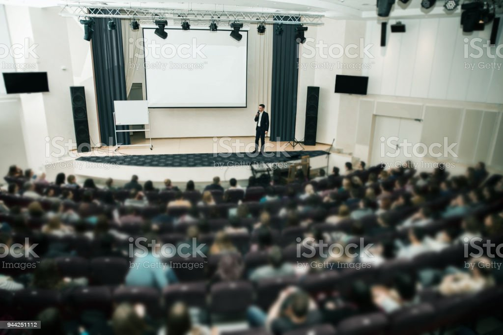 Speaker at Business Conference and Presentation. Audience the conference hall stock photo