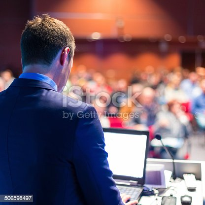615804128 istock photo Speaker at Business Conference and Presentation. 506598497