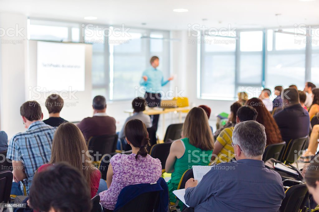 Speaker at Business convention and Presentation. stock photo