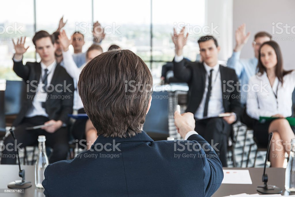 Speaker at conference royalty-free stock photo