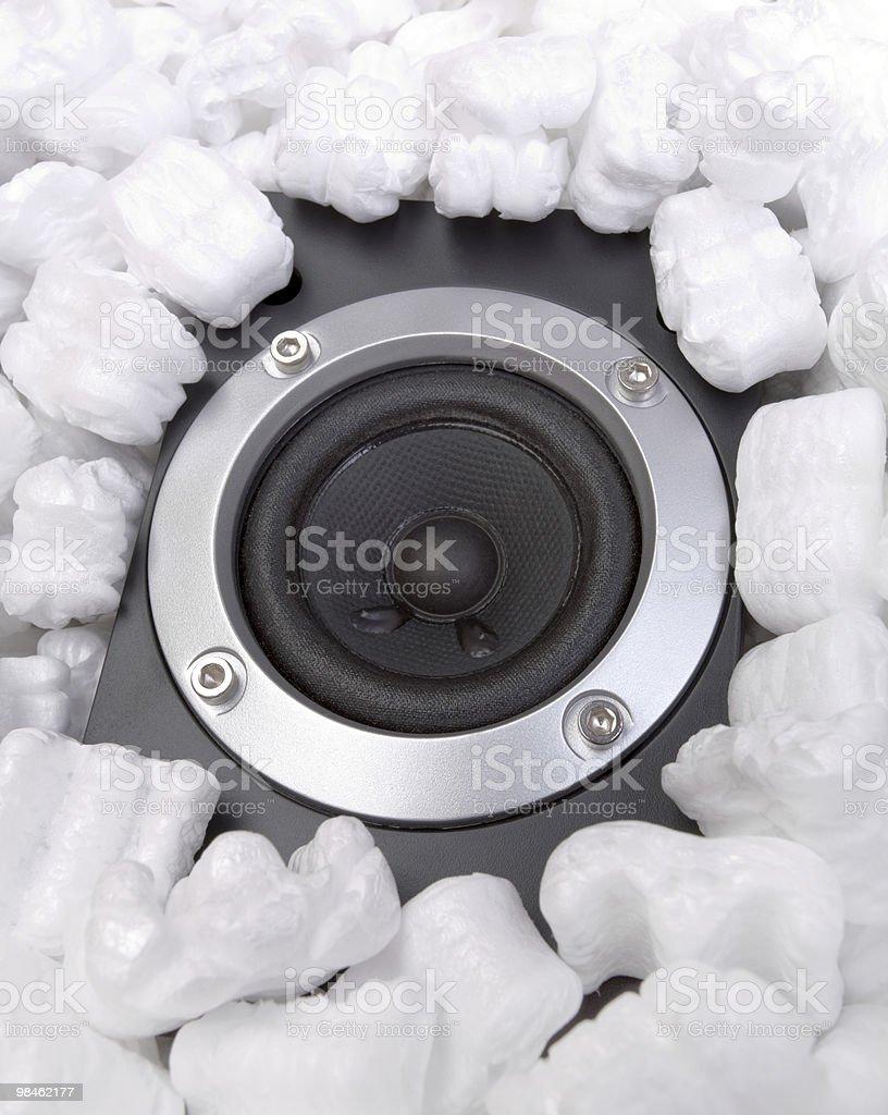 speaker & foam peanuts royalty-free stock photo