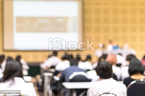 526272636istockphoto Speaker giving educational seminar, school lecture, or entrepreneurship business talk  blur background in conference meeting  with audiences or students in back of the room 1134789844