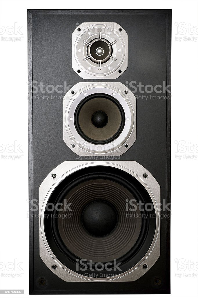 speaker isolated on white for fantastic music entertainmend stock photo