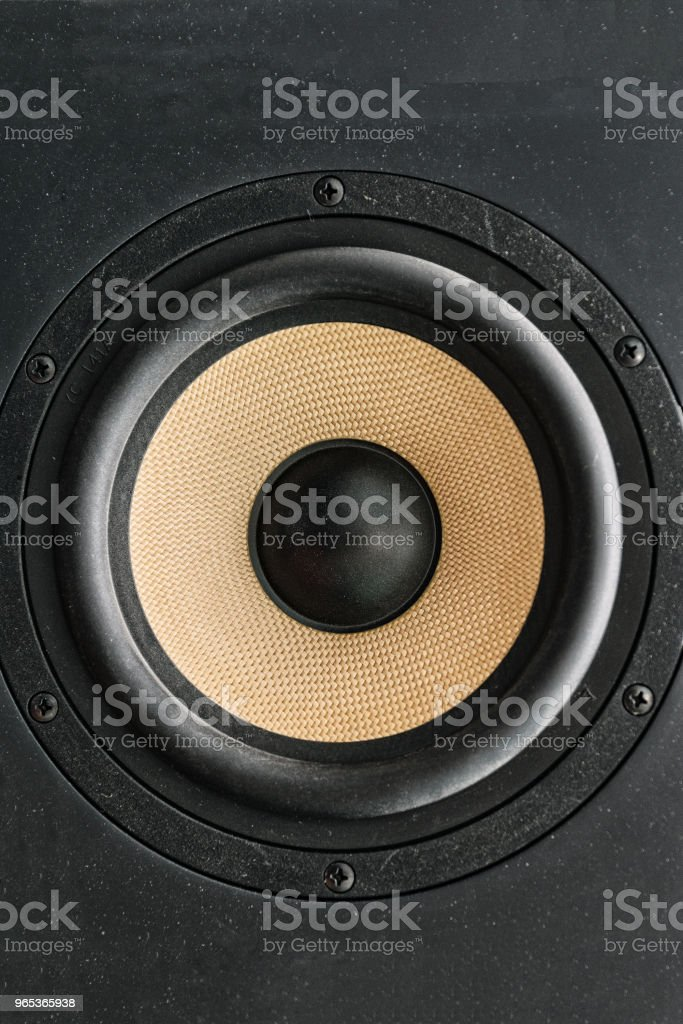 Speaker loudspeaker with yellow diffuser royalty-free stock photo