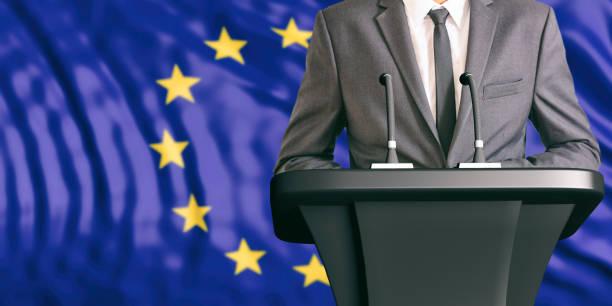 Speaker on European Union flag background. 3d illustration stock photo