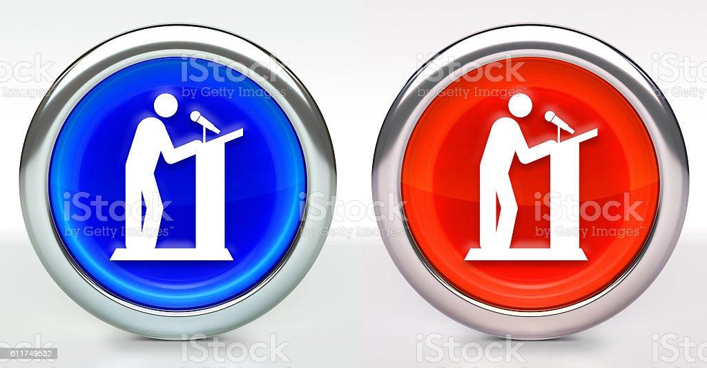Speaker on Podium Icon on Button with Metallic Rim stock photo