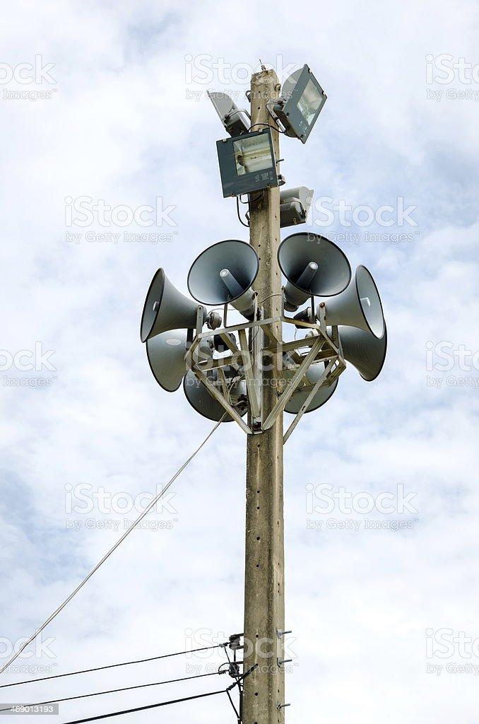 Speaker  on the pole. stock photo