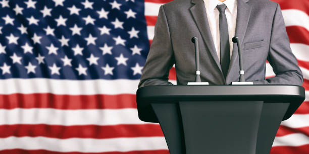 speaker on united states of america flag background. 3d illustration - grecia stato foto e immagini stock