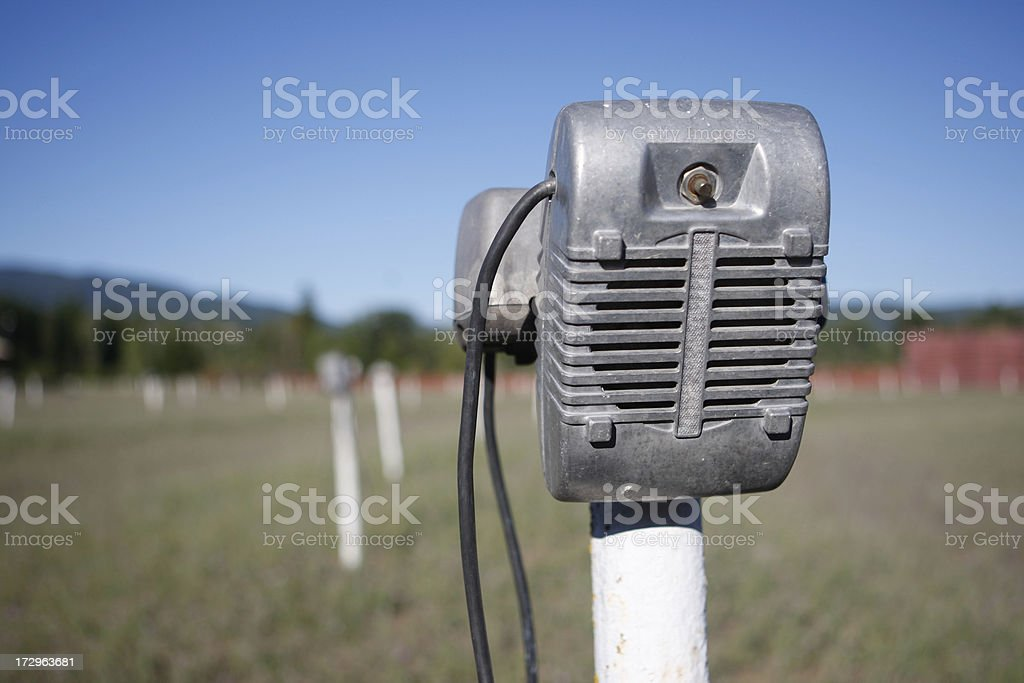 Speaker Post at Abandoned Drive-In royalty-free stock photo